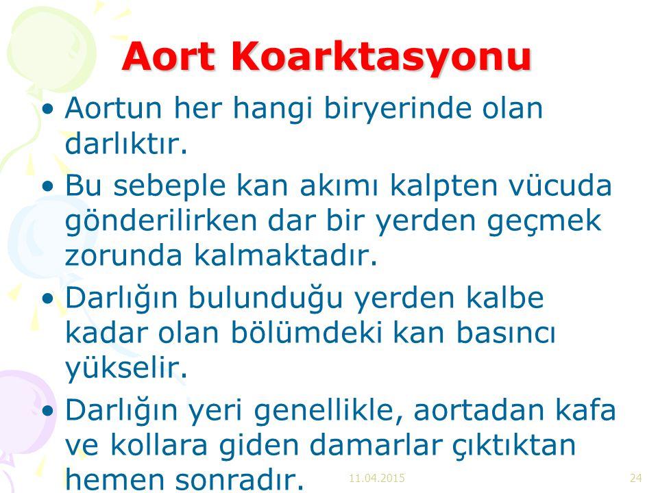 Aort Koarktasyonu Aortun her hangi biryerinde olan darlıktır. Bu sebeple kan akımı kalpten vücuda gönderilirken dar bir yerden geçmek zorunda kalmakta