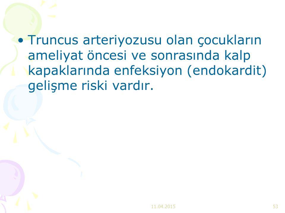 Truncus arteriyozusu olan çocukların ameliyat öncesi ve sonrasında kalp kapaklarında enfeksiyon (endokardit) gelişme riski vardır. 11.04.201553