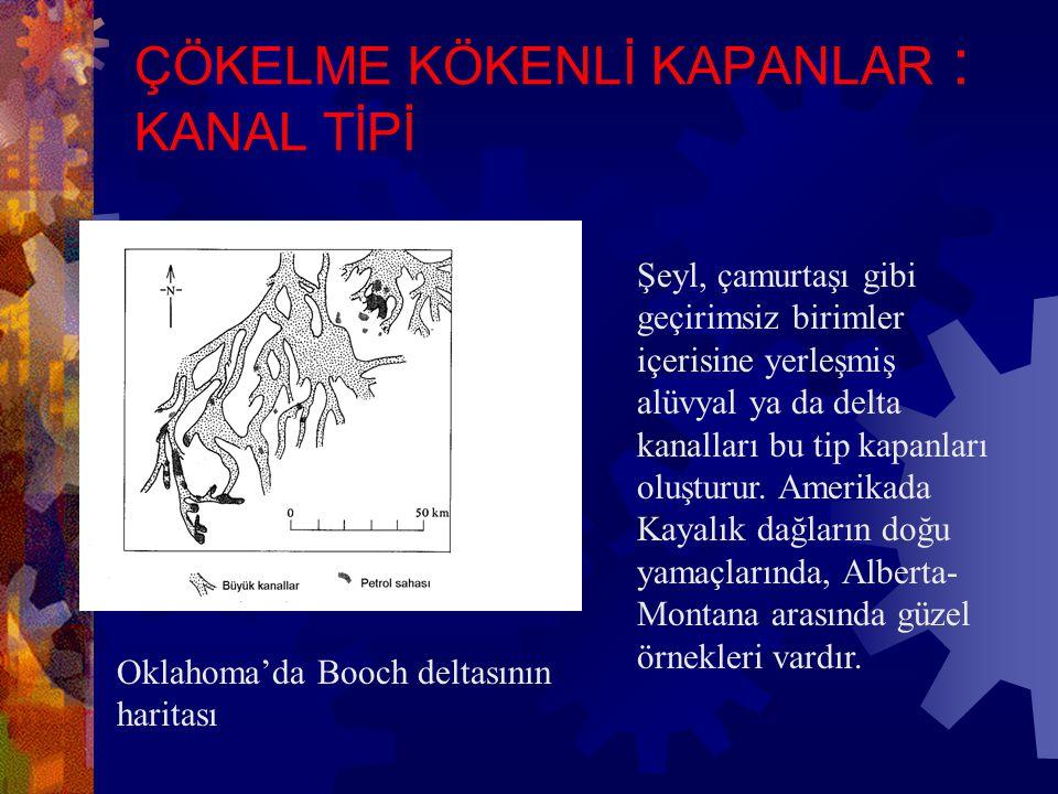 ÇÖKELME KÖKENLİ KAPANLAR : KAMA TİPİ Yanal yönde litoloji değişimi ile gelişen kapanlardır.