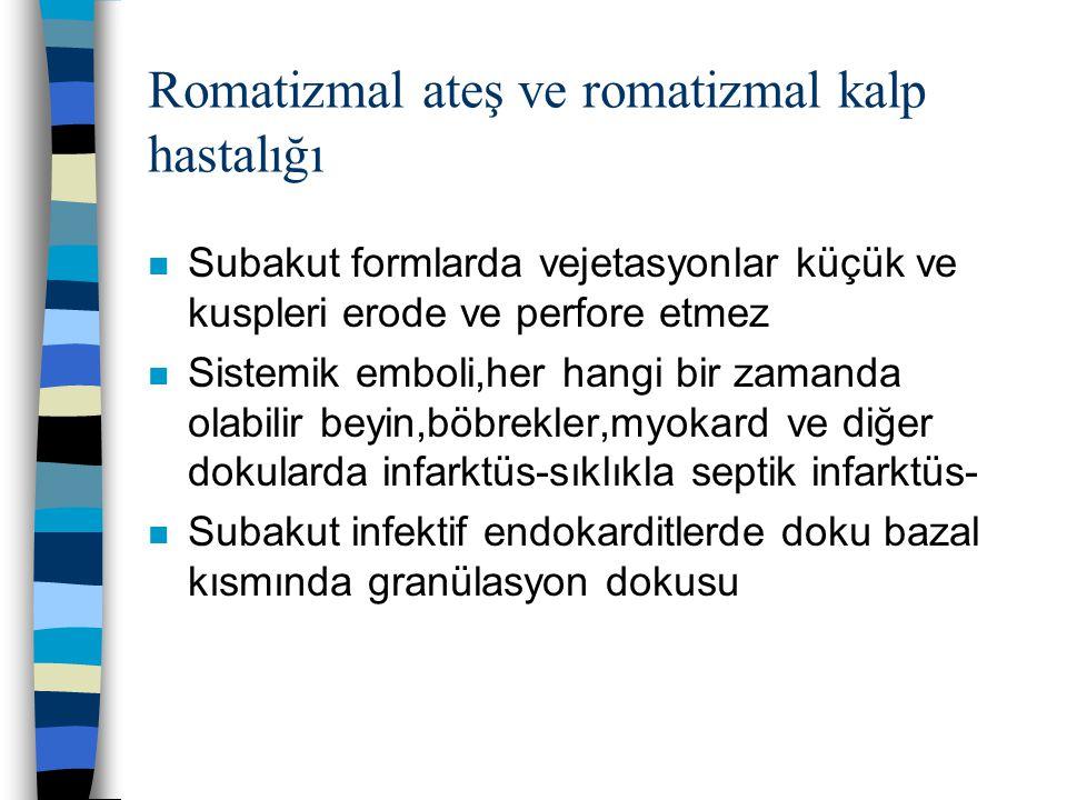 Romatizmal ateş ve romatizmal kalp hastalığı n Subakut formlarda vejetasyonlar küçük ve kuspleri erode ve perfore etmez n Sistemik emboli,her hangi bi