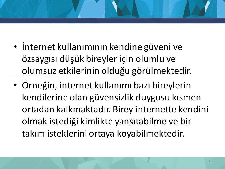İnternet kullanımının kendine güveni ve özsaygısı düşük bireyler için olumlu ve olumsuz etkilerinin olduğu görülmektedir. Örneğin, internet kullanımı
