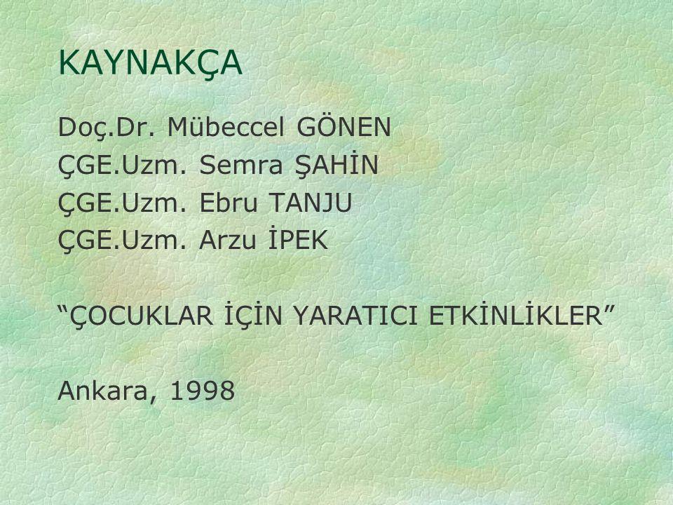 """KAYNAKÇA Doç.Dr. Mübeccel GÖNEN ÇGE.Uzm. Semra ŞAHİN ÇGE.Uzm. Ebru TANJU ÇGE.Uzm. Arzu İPEK """"ÇOCUKLAR İÇİN YARATICI ETKİNLİKLER"""" Ankara, 1998"""