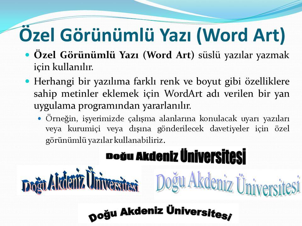 Özel Görünümlü Yazı (Word Art) Özel Görünümlü Yazı (Word Art) süslü yazılar yazmak için kullanılır. Herhangi bir yazılıma farklı renk ve boyut gibi öz