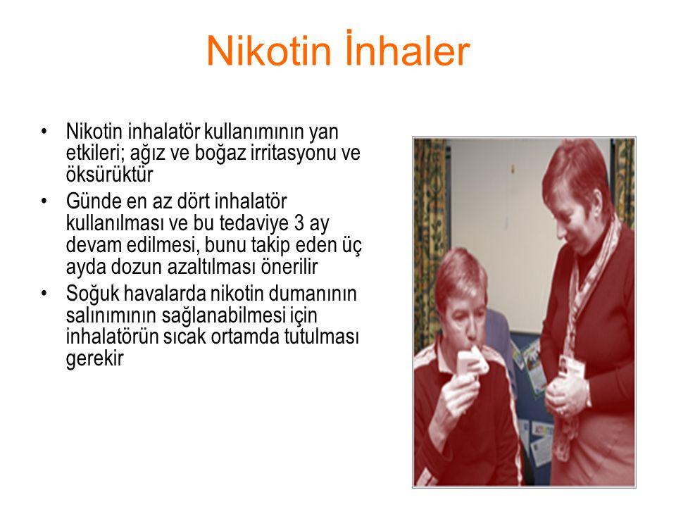 Nikotin İnhaler Nikotin inhalatör kullanımının yan etkileri; ağız ve boğaz irritasyonu ve öksürüktür Günde en az dört inhalatör kullanılması ve bu ted