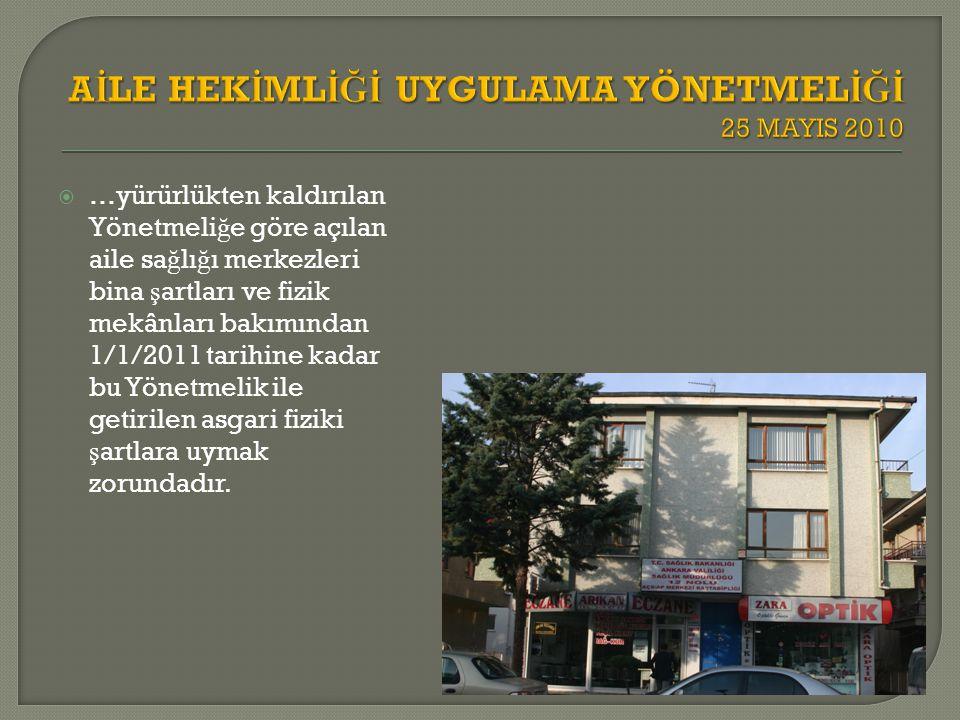  …yürürlükten kaldırılan Yönetmeli ğ e göre açılan aile sa ğ lı ğ ı merkezleri bina ş artları ve fizik mekânları bakımından 1/1/2011 tarihine kadar b