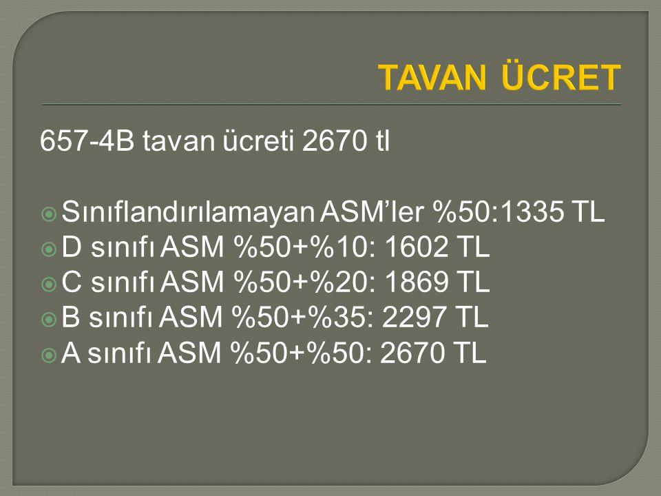 TAVAN ÜCRET 657-4B tavan ücreti 2670 tl  Sınıflandırılamayan ASM'ler %50:1335 TL  D sınıfı ASM %50+%10: 1602 TL  C sınıfı ASM %50+%20: 1869 TL  B