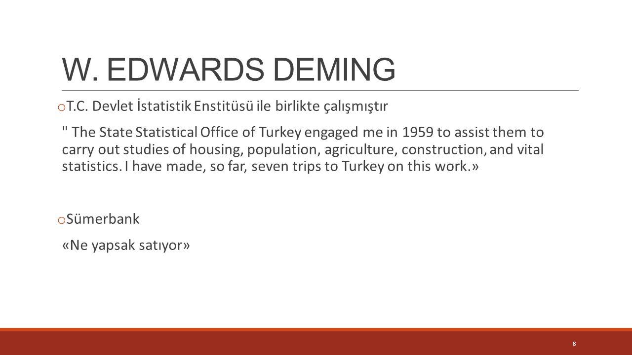W. EDWARDS DEMING o T.C. Devlet İstatistik Enstitüsü ile birlikte çalışmıştır