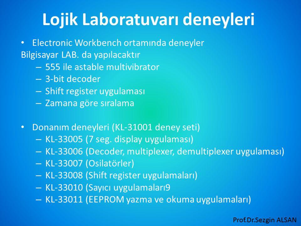 Prof.Dr.Sezgin ALSAN Lojik Laboratuvarı deneyleri Electronic Workbench ortamında deneyler Bilgisayar LAB.