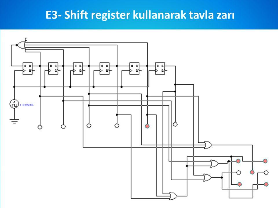 Prof.Dr.Sezgin ALSAN E3- Shift register kullanarak tavla zarı