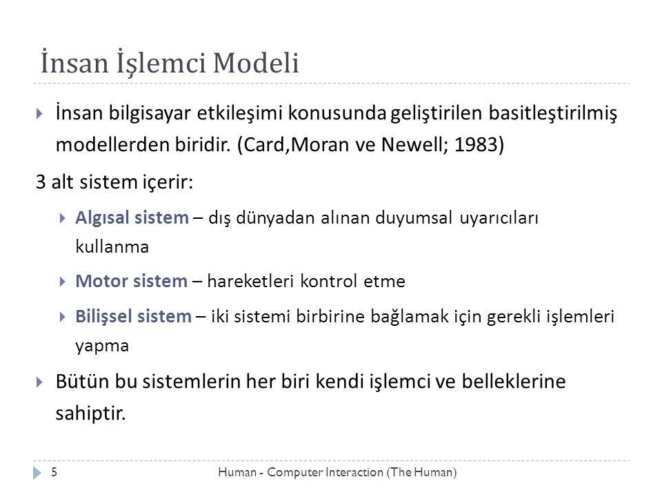 İnsan İşlemci Modeli  İnsan bilgisayar etkileşimi konusunda geliştirilen basitleştirilmiş modellerden biridir. (Card,Moran ve Newell; 1983) 3 alt sis