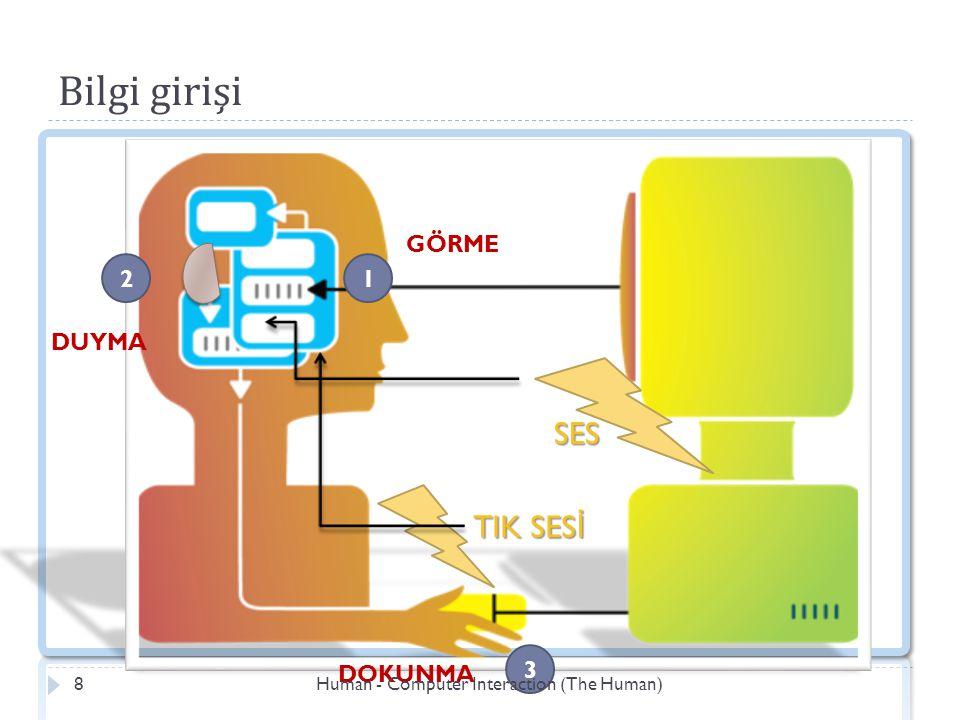 Bilgi girişi SES 1 3 TIK SES İ GÖRME 2 DUYMA DOKUNMA Human - Computer Interaction (The Human)8