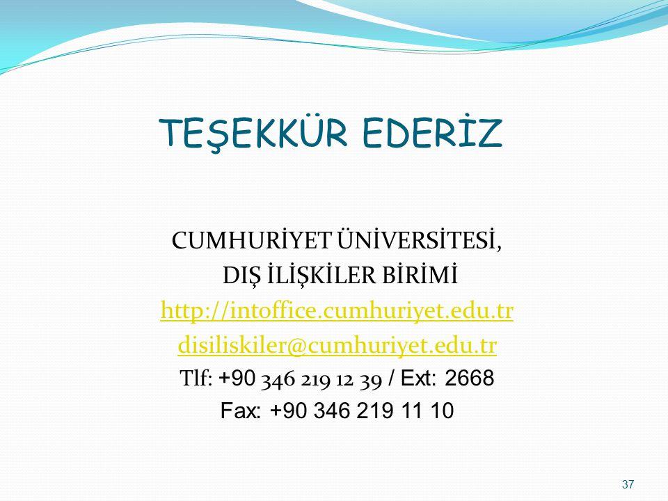 TEŞEKKÜR EDERİZ CUMHURİYET ÜNİVERSİTESİ, DIŞ İLİŞKİLER BİRİMİ http://intoffice.cumhuriyet.edu.tr disiliskiler@cumhuriyet.edu.tr Tlf: +90 346 219 12 39