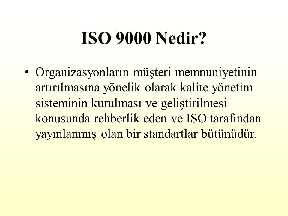 ISO 9000 VE TKY KARŞILAŞTIRMASI İSO 9000 Standardın gereklerini karşılamayı amaçlayan bir yönetim sisitemi Müşteri odaklı olması şart değil, öncelikle ürün veya hizmet odaklı Bölüm bazında uygulanabilir Sorumluluk Kalite Bölümü üzerinde TOPLAM KALİTE YÖNETİMİ Organizasyonel değişim, sürekli gelişme isteyen bir felsefe, bir yönetim anlayışı Kesinlikle müşteri odaklı Tüm bölümleri, fonksiyonları, her seviyeyi kapsayan şirket çapında bir yaklaşım Sorumluluk herkesin üzerinde