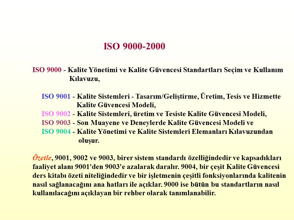 ISO 9000 - Kalite Yönetimi ve Kalite Güvencesi Standartları Seçim ve Kullanım Kılavuzu, ISO 9001 - Kalite Sistemleri - Tasarım/Geliştirme, Üretim, Tesis ve Hizmette Kalite Güvencesi Modeli, ISO 9002 - Kalite Sistemleri, üretim ve Tesiste Kalite Güvencesi Modeli, ISO 9003 - Son Muayene ve Deneylerde Kalite Güvencesi Modeli ve ISO 9004 - Kalite Yönetimi ve Kalite Sistemleri Elemanları Kılavuzundan oluşur.