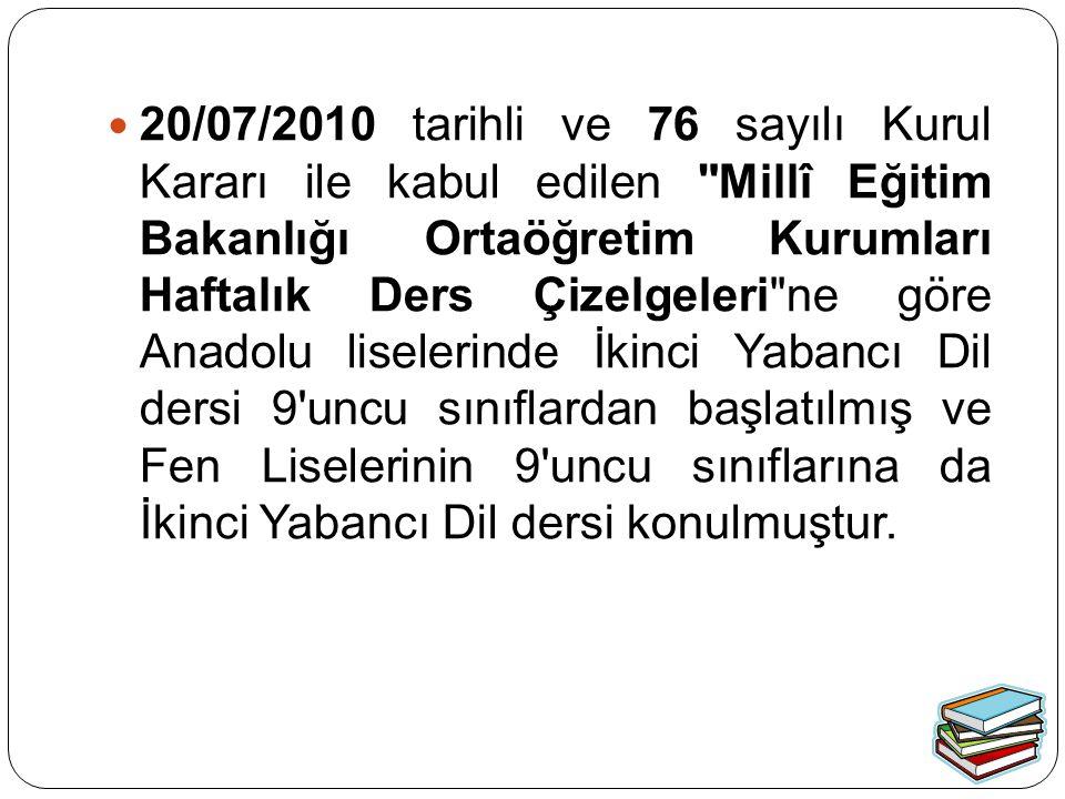 20/07/2010 tarihli ve 76 sayılı Kurul Kararı ile kabul edilen