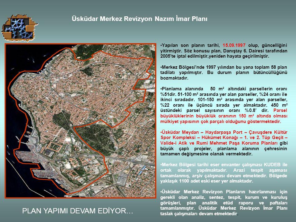 Üsküdar Merkez Revizyon Nazım İmar Planı Yapılan son planın tarihi, 15.09.1997 olup, güncelliğini yitirmiştir. Söz konusu plan, Danıştay 6. Dairesi ta