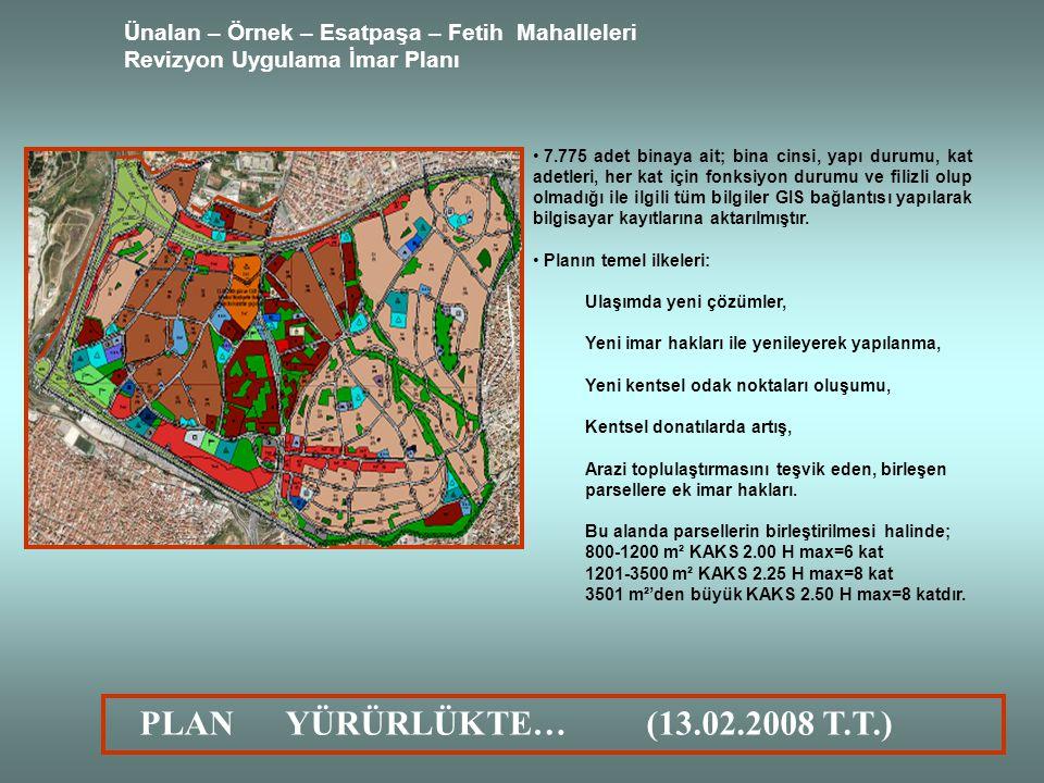 Ünalan – Örnek – Esatpaşa – Fetih Mahalleleri Revizyon Uygulama İmar Planı 7.775 adet binaya ait; bina cinsi, yapı durumu, kat adetleri, her kat için