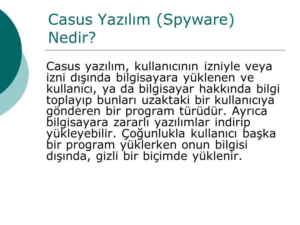 Casus Yazılım (Spyware) Nedir? Casus yazılım, kullanıcının izniyle veya izni dışında bilgisayara yüklenen ve kullanıcı, ya da bilgisayar hakkında bilg
