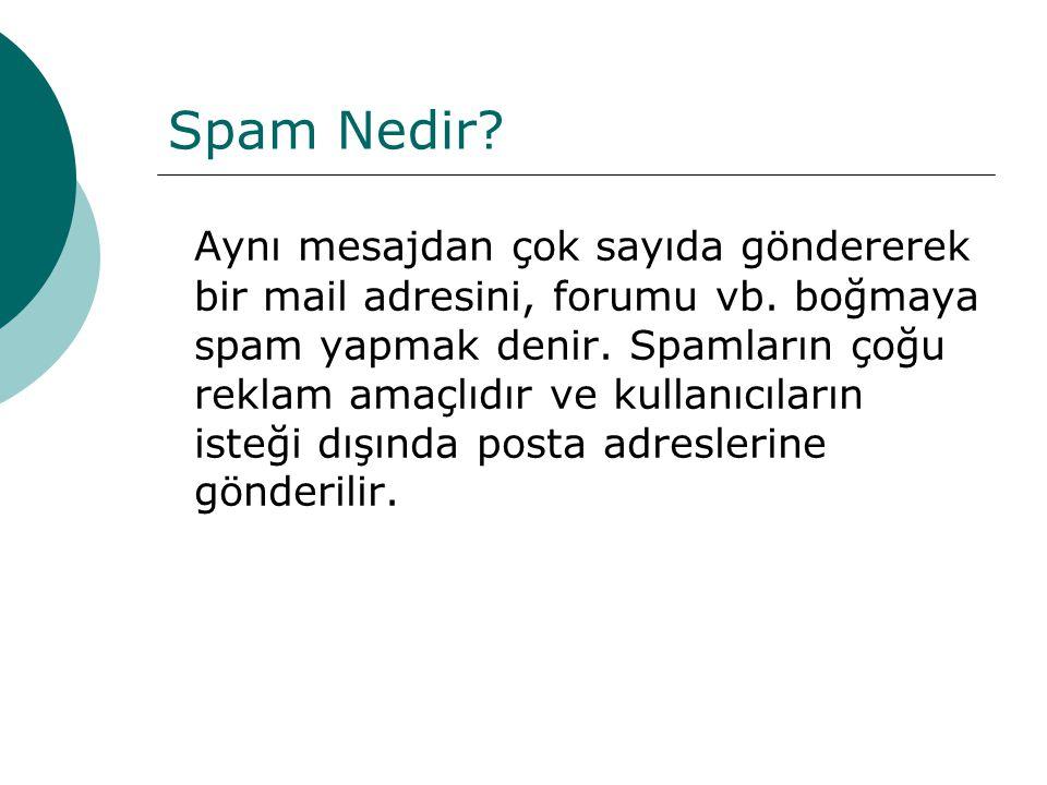 Spam Nedir? Aynı mesajdan çok sayıda göndererek bir mail adresini, forumu vb. boğmaya spam yapmak denir. Spamların çoğu reklam amaçlıdır ve kullanıcıl