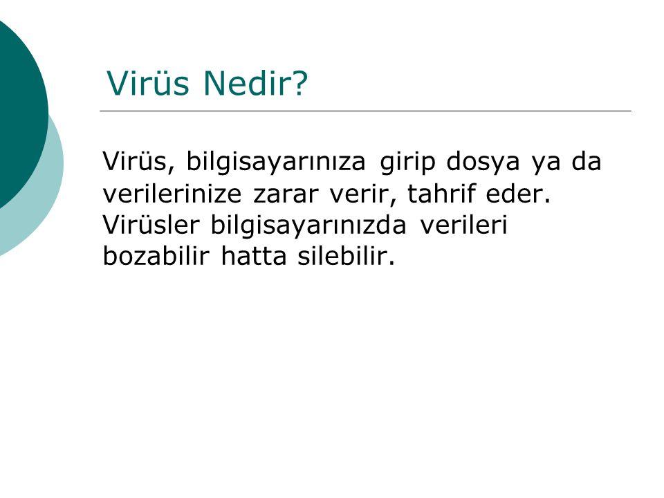 Virüs Nedir? Virüs, bilgisayarınıza girip dosya ya da verilerinize zarar verir, tahrif eder. Virüsler bilgisayarınızda verileri bozabilir hatta silebi