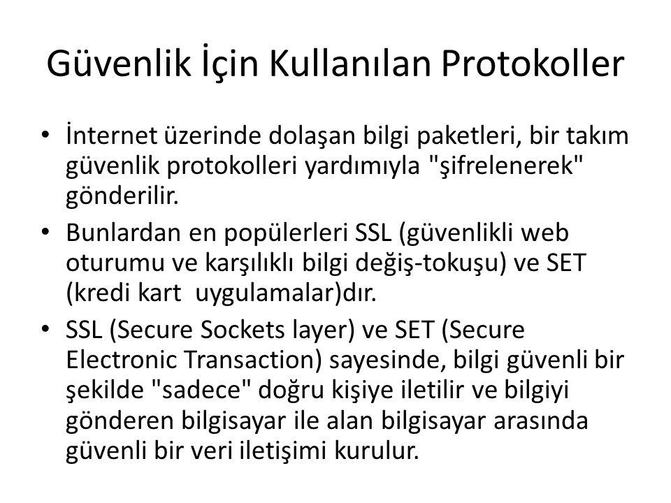 Güvenlik İçin Kullanılan Protokoller İnternet üzerinde dolaşan bilgi paketleri, bir takım güvenlik protokolleri yardımıyla