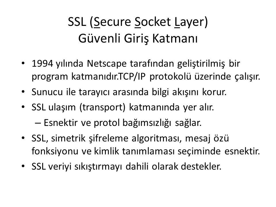 SSL (Secure Socket Layer) Güvenli Giriş Katmanı 1994 yılında Netscape tarafından geliştirilmiş bir program katmanıdır.TCP/IP protokolü üzerinde çalışı