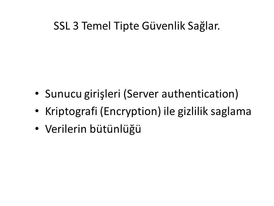SSL 3 Temel Tipte Güvenlik Sağlar. Sunucu girişleri (Server authentication) Kriptografi (Encryption) ile gizlilik saglama Verilerin bütünlüğü