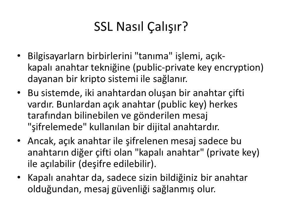 SSL Nasıl Çalışır? Bilgisayarlarn birbirlerini