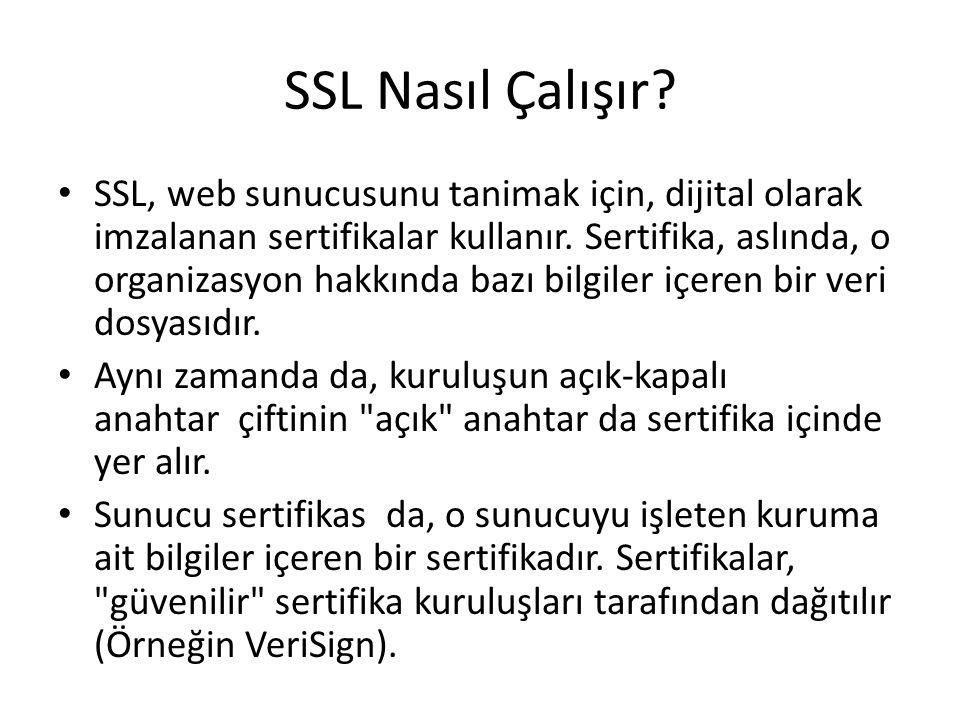 SSL, web sunucusunu tanimak için, dijital olarak imzalanan sertifikalar kullanır. Sertifika, aslında, o organizasyon hakkında bazı bilgiler içeren bir