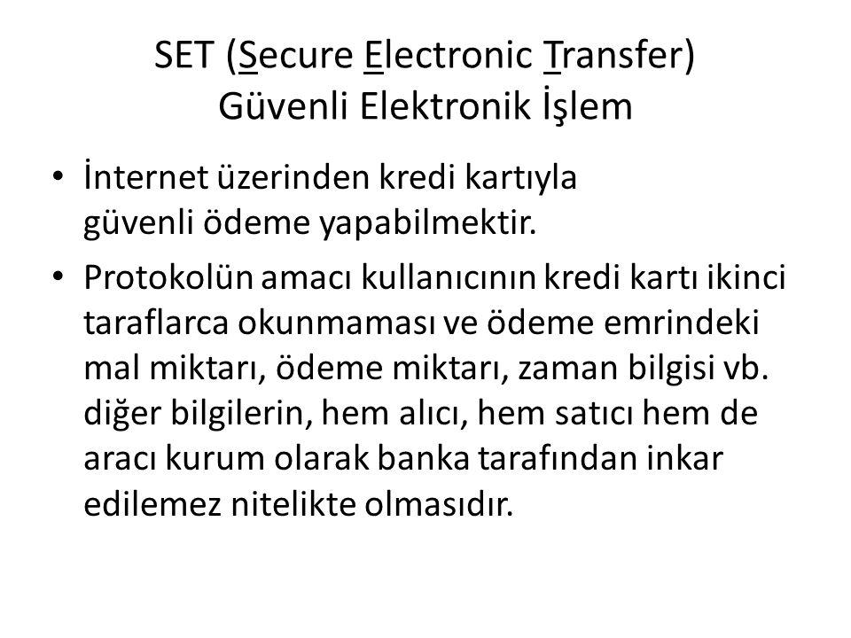 SET (Secure Electronic Transfer) Güvenli Elektronik İşlem İnternet üzerinden kredi kartıyla güvenli ödeme yapabilmektir. Protokolün amacı kullanıcının