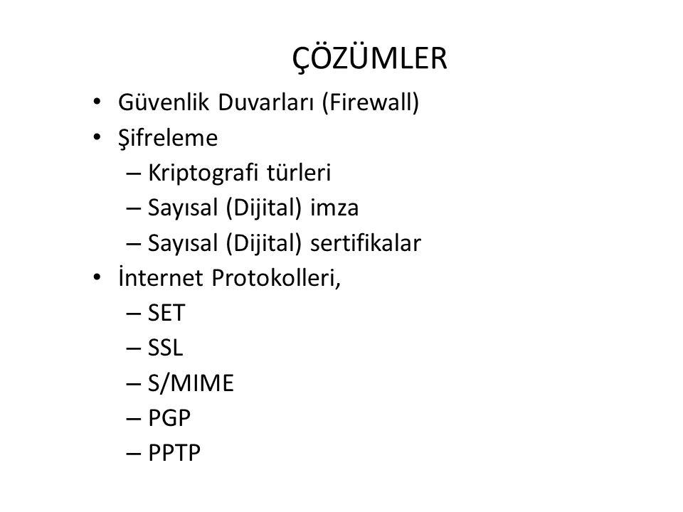 ÇÖZÜMLER Güvenlik Duvarları (Firewall) Şifreleme – Kriptografi türleri – Sayısal (Dijital) imza – Sayısal (Dijital) sertifikalar İnternet Protokolleri