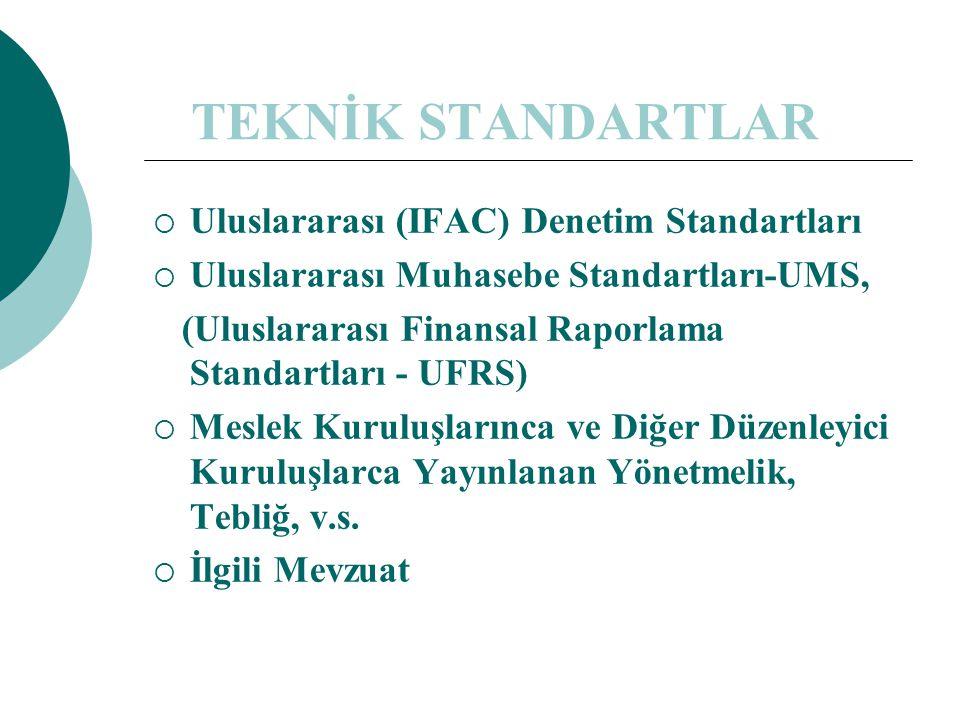 TEKNİK STANDARTLAR  Uluslararası (IFAC) Denetim Standartları  Uluslararası Muhasebe Standartları-UMS, (Uluslararası Finansal Raporlama Standartları