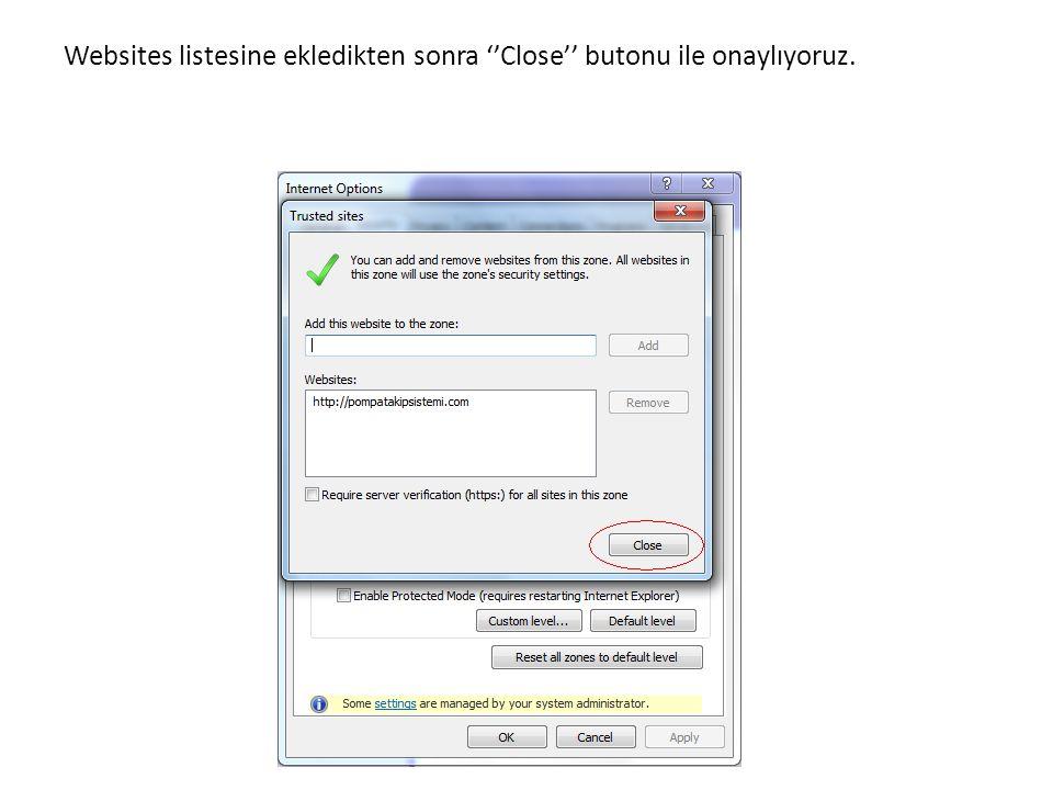 Websites listesine ekledikten sonra ''Close'' butonu ile onaylıyoruz.