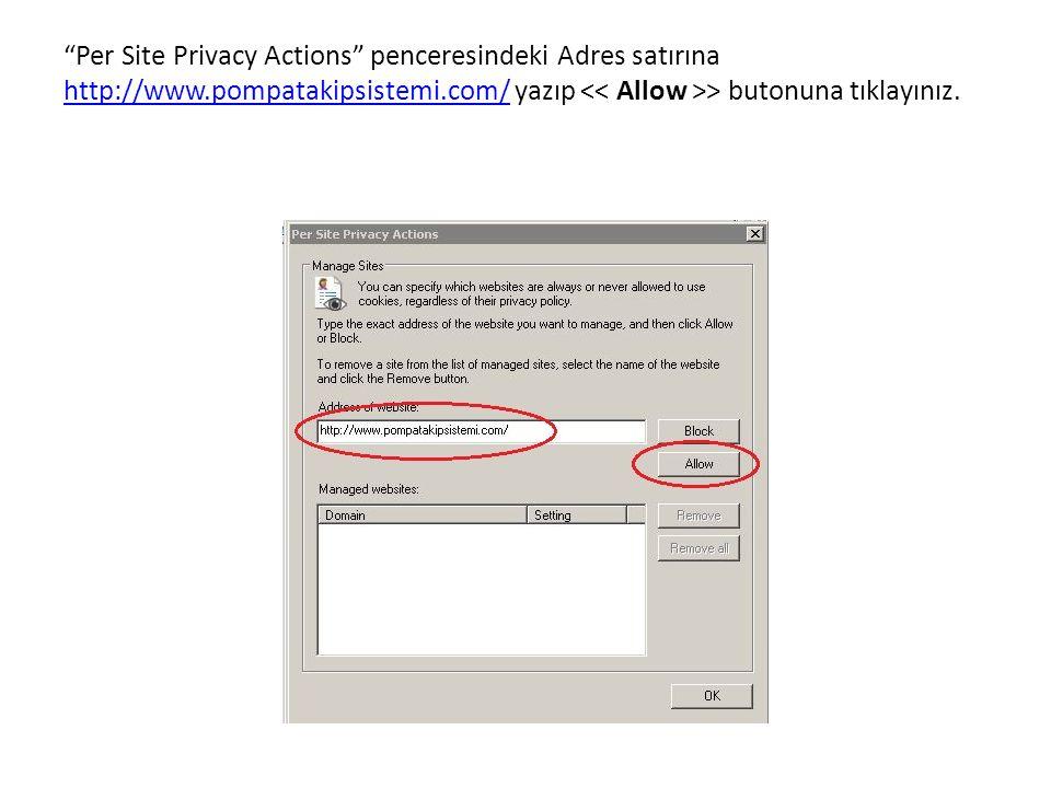 Per Site Privacy Actions penceresindeki Adres satırına http://www.pompatakipsistemi.com/ yazıp > butonuna tıklayınız.