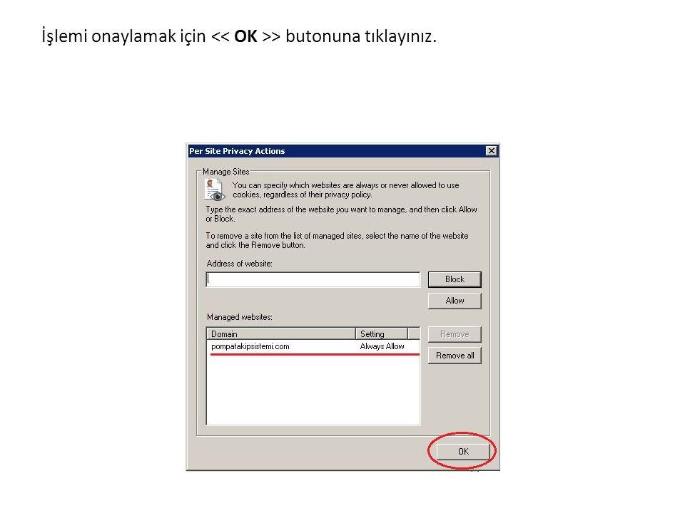 Privacy altından güvenlik düzeyini > olarak belirleyip > tıklayınız.
