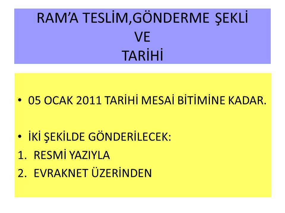 RAM'A TESLİM,GÖNDERME ŞEKLİ VE TARİHİ 05 OCAK 2011 TARİHİ MESAİ BİTİMİNE KADAR.