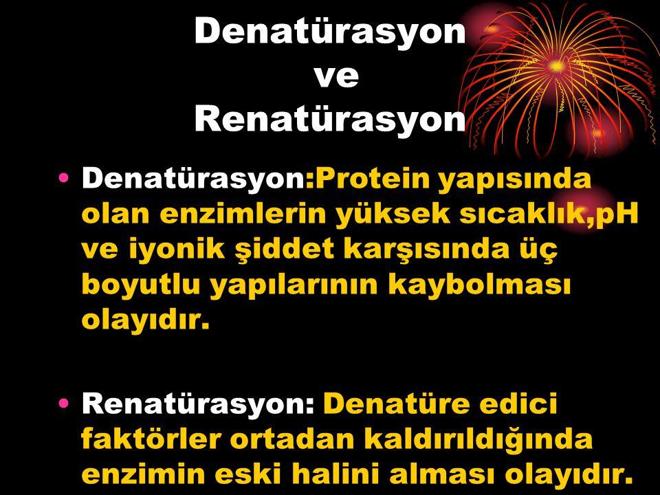 Denatürasyon:Protein yapısında olan enzimlerin yüksek sıcaklık,pH ve iyonik şiddet karşısında üç boyutlu yapılarının kaybolması olayıdır. Renatürasyon