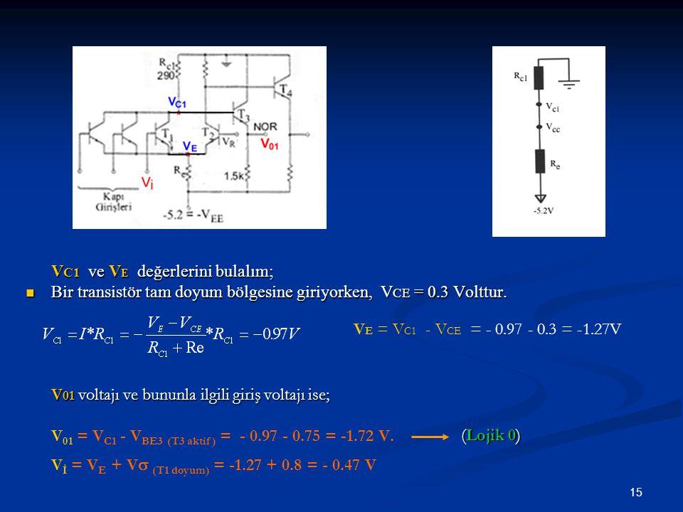 15 V C1 ve V E değerlerini bulalım; Bir transistör tam doyum bölgesine giriyorken, V CE = 0.3 Volttur. V 01 voltajı ve bununla ilgili giriş voltajı is