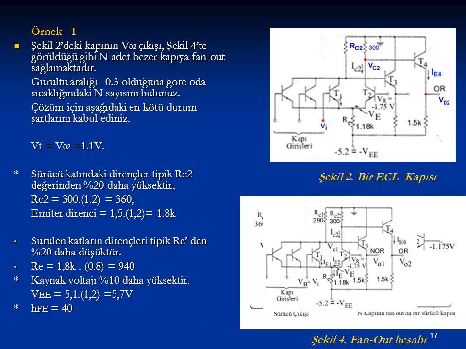 17 Örnek 1 Şekil 2'deki kapının V 02 çıkışı, Şekil 4'te görüldüğü gibi N adet bezer kapıya fan-out sağlamaktadır. Şekil 2'deki kapının V 02 çıkışı, Şe