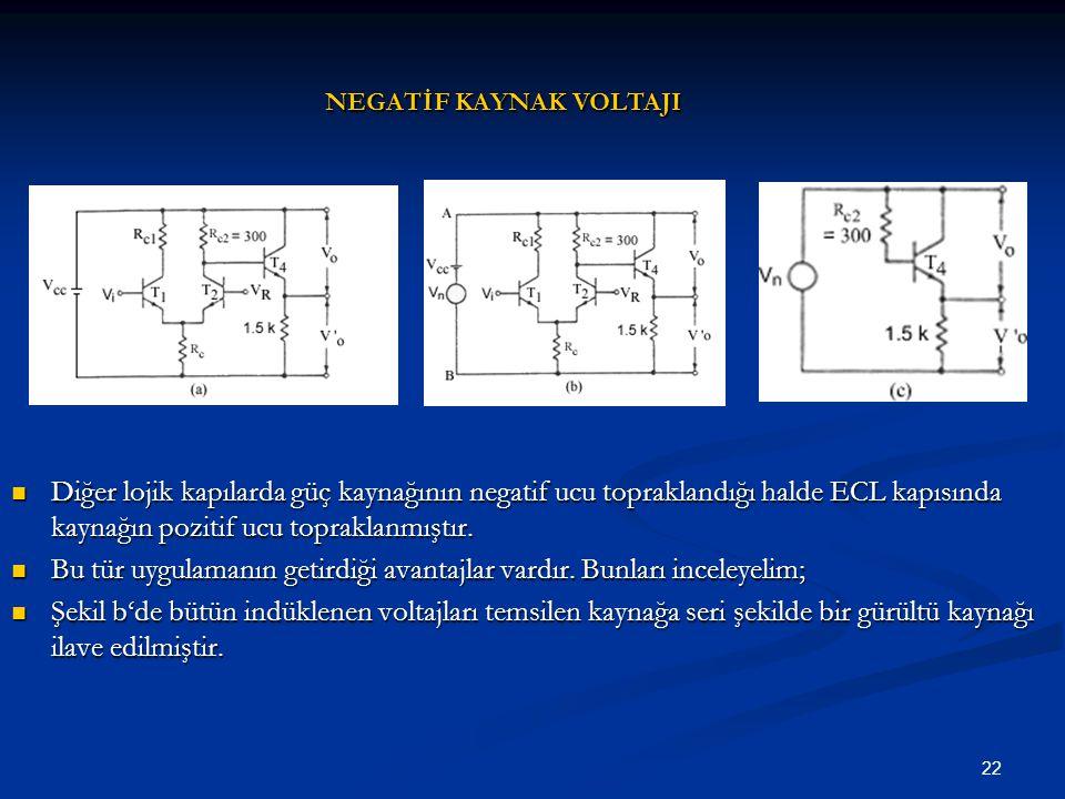 22 Diğer lojik kapılarda güç kaynağının negatif ucu topraklandığı halde ECL kapısında kaynağın pozitif ucu topraklanmıştır. Diğer lojik kapılarda güç