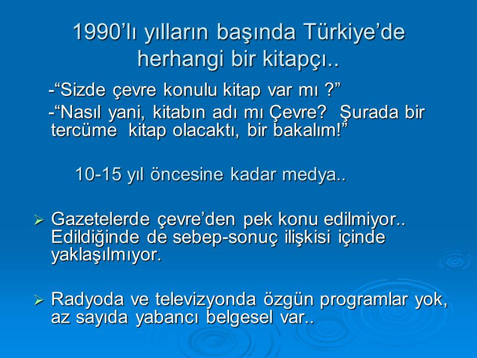 """1990'lı yılların başında Türkiye'de herhangi bir kitapçı.. -""""Sizde çevre konulu kitap var mı ?"""" -""""Sizde çevre konulu kitap var mı ?"""" -""""Nasıl yani, kit"""