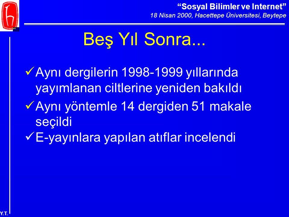 """""""Sosyal Bilimler ve Internet"""" 18 Nisan 2000, Hacettepe Üniversitesi, Beytepe Y.T. Beş Yıl Sonra... Aynı dergilerin 1998-1999 yıllarında yayımlanan cil"""