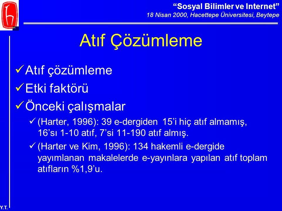 """""""Sosyal Bilimler ve Internet"""" 18 Nisan 2000, Hacettepe Üniversitesi, Beytepe Y.T. Atıf Çözümleme Atıf çözümleme Etki faktörü Önceki çalışmalar (Harter"""