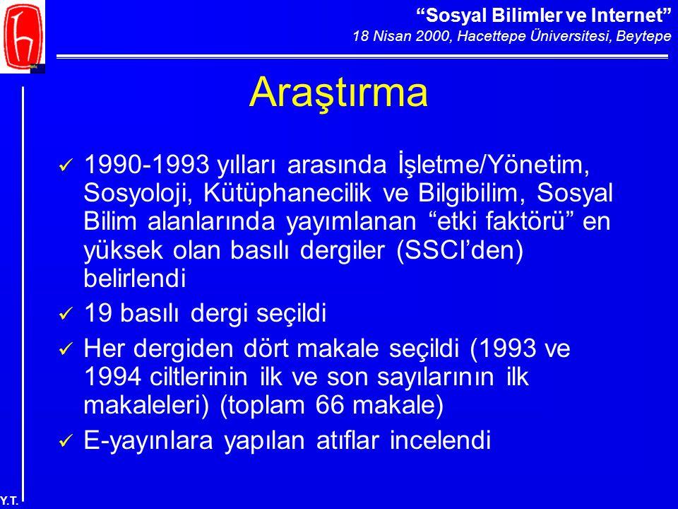 """""""Sosyal Bilimler ve Internet"""" 18 Nisan 2000, Hacettepe Üniversitesi, Beytepe Y.T. Araştırma 1990-1993 yılları arasında İşletme/Yönetim, Sosyoloji, Küt"""