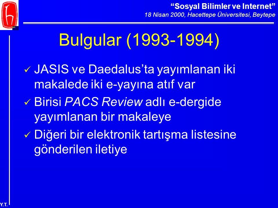 """""""Sosyal Bilimler ve Internet"""" 18 Nisan 2000, Hacettepe Üniversitesi, Beytepe Y.T. Bulgular (1993-1994) JASIS ve Daedalus'ta yayımlanan iki makalede ik"""