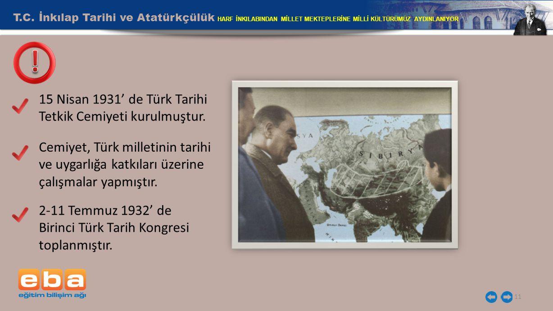 T.C. İnkılap Tarihi ve Atatürkçülük HARF İNKILABINDAN MİLLET MEKTEPLERİNE MİLLİ KÜLTÜRÜMÜZ AYDINLANIYOR 11 15 Nisan 1931' de Türk Tarihi Tetkik Cemiye