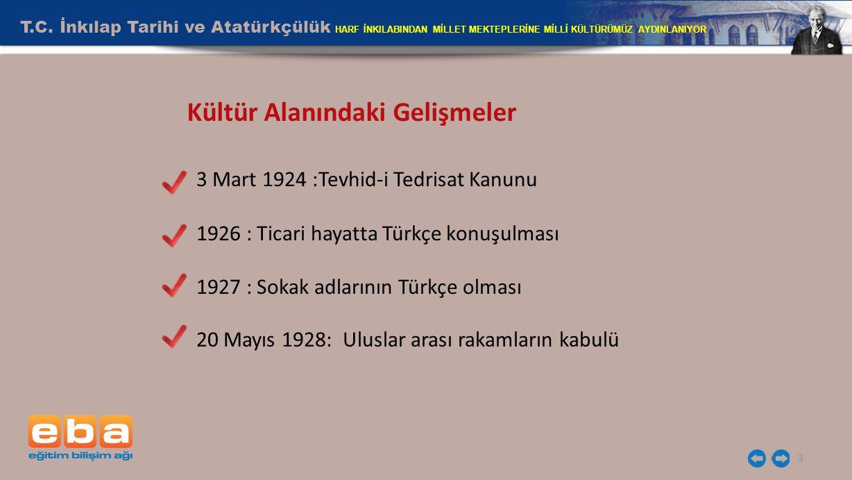 T.C. İnkılap Tarihi ve Atatürkçülük HARF İNKILABINDAN MİLLET MEKTEPLERİNE MİLLİ KÜLTÜRÜMÜZ AYDINLANIYOR 3 3 Mart 1924 :Tevhid-i Tedrisat Kanunu 1926 :