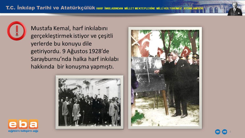 T.C. İnkılap Tarihi ve Atatürkçülük HARF İNKILABINDAN MİLLET MEKTEPLERİNE MİLLİ KÜLTÜRÜMÜZ AYDINLANIYOR 4 Mustafa Kemal, harf inkılabını gerçekleştirm