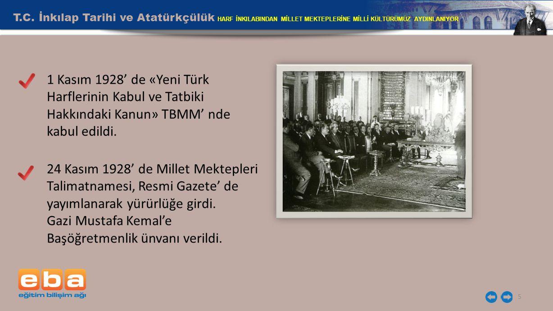 T.C. İnkılap Tarihi ve Atatürkçülük HARF İNKILABINDAN MİLLET MEKTEPLERİNE MİLLİ KÜLTÜRÜMÜZ AYDINLANIYOR 5 1 Kasım 1928' de «Yeni Türk Harflerinin Kabu