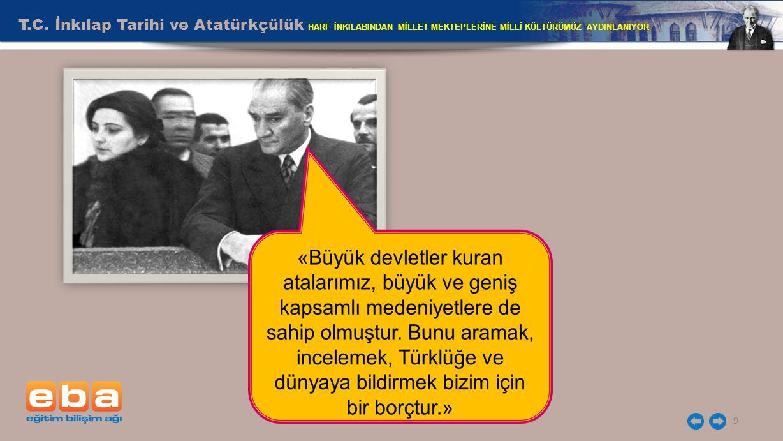 T.C. İnkılap Tarihi ve Atatürkçülük HARF İNKILABINDAN MİLLET MEKTEPLERİNE MİLLİ KÜLTÜRÜMÜZ AYDINLANIYOR 9